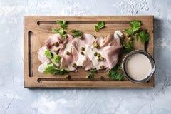 Veau avec le tonnato de vitello de sauce à thon Image stock