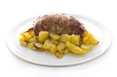 Veau roulé bourré des pommes de terre photo libre de droits