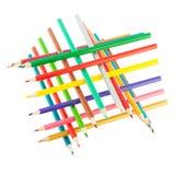 VEB empilhado lápis da cor isolado no fim branco do fundo acima Imagem de Stock Royalty Free