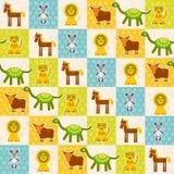 套滑稽的动物老鼠狮子母牛恐龙老虎马无缝的样式 与青绿的橙色正方形的圆点背景 Vec 免版税库存图片