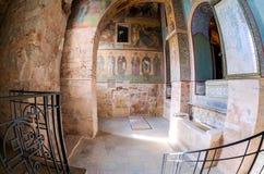 Vecchi affreschi religiosi della pittura della cattedrale di Sophia del san Fotografia Stock