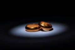 Vecchi anelli di cerimonia nuziale Fotografie Stock Libere da Diritti