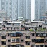 Vecchi appartamenti urbani Fotografie Stock