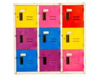 Vecchi armadi variopinti del gabinetto isolati su fondo bianco immagini stock libere da diritti