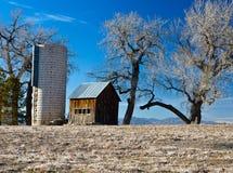 Vecchi azienda agricola e silo in Colorado Fotografia Stock Libera da Diritti