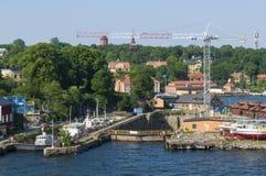 Vecchi bacini di carenaggio Stoccolma Fotografie Stock