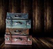 Vecchi bagagli di cuoio d'annata Fotografie Stock Libere da Diritti