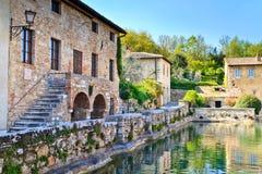 Vecchi bagni termici in Bagno Vignoni, Toscana Fotografia Stock Libera da Diritti