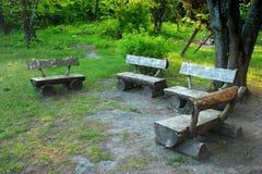 Vecchi banchi di legno fatti a mano dai tronchi di albero nella foresta Fotografie Stock