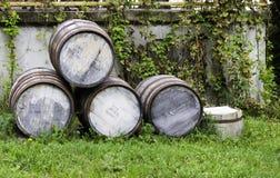 Vecchi barilotti di birra impilati Fotografie Stock