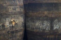 Vecchi barilotti di vino Grungy Fotografia Stock Libera da Diritti
