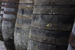 Vecchi barilotti di vino memorizzati nelle righe Fotografie Stock Libere da Diritti