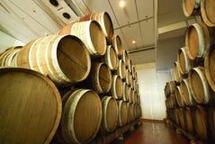 Vecchi barilotti di vino in una cantina Fotografia Stock Libera da Diritti