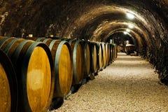 Vecchi barilotti di vino in una cantina per vini Fotografia Stock Libera da Diritti