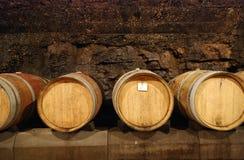 Vecchi barilotti in una caverna del vino Fotografie Stock Libere da Diritti