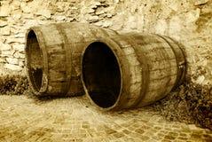 Vecchi barrells del vino della quercia Fotografia Stock