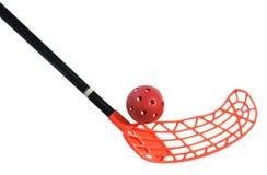 Vecchi bastone e sfera del floorball Fotografie Stock