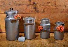 Vecchi bidoni di latte Fotografie Stock