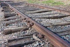 Vecchi binari ferroviari arrugginiti Fotografia Stock