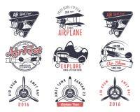 Vecchi bolli della mosca di vettore Emblemi di giro dell'aeroplano di affari o di viaggio Etichette dell'accademia del biplano Re Fotografia Stock