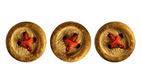 Vecchi bottoni di legno isolati su bianco fotografia stock libera da diritti