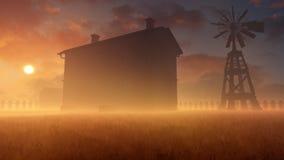 Vecchi Camera e mulino a vento in Misty Sunset Fotografia Stock