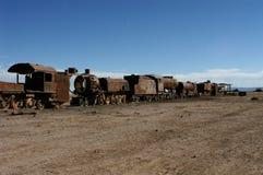 Vecchi carrelli d'arrugginimento del treno Fotografie Stock Libere da Diritti
