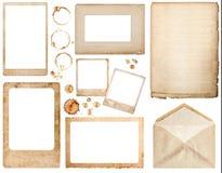 Vecchi carta, busta, strutture della foto e scrapbo usati delle macchie del caffè Immagine Stock