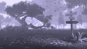Vecchi cartello e fantasmi in una foresta nebbiosa Immagine Stock Libera da Diritti