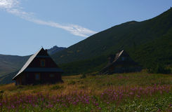 Vecchi chalet in montagne Fotografia Stock