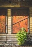 Vecchi ciechi di finestra chiusi e un cespuglio verde sotto  immagini stock