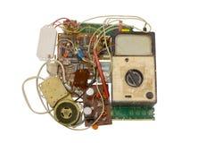 Vecchi componenti elettronici, circuiti Fotografia Stock