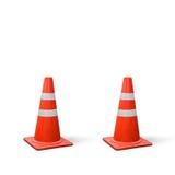 Vecchi coni di traffico su fondo bianco Fotografie Stock Libere da Diritti