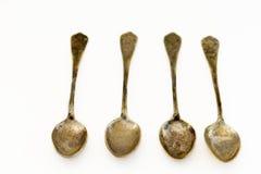 Vecchi cucchiai d'argento Fotografia Stock Libera da Diritti