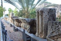 Vecchi dettagli della scultura in Capernaum, Israele Fotografia Stock Libera da Diritti
