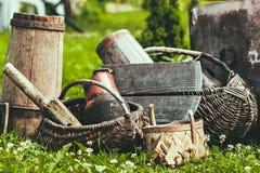 Vecchi dettagli e cose d'annata La foto stilizzata Retro agricoltura Immagine Stock Libera da Diritti