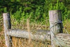 Vecchi di legno recintano un campo Immagini Stock