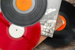 Vecchi dischi long play del vinile Fotografia Stock Libera da Diritti