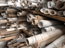 Vecchi disegni di costruzione Fotografia Stock