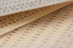 Vecchi documenti con i numeri Fotografie Stock Libere da Diritti