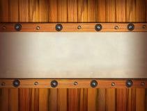 Vecchi documenti sulla parete di legno. Fotografia Stock