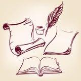 Vecchi documento del rotolo e penna in bianco della piuma Immagini Stock
