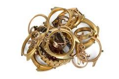 Vecchi e gioielli rotti, orologi di oro Fotografia Stock