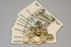 Vecchi e nuovi soldi russi Immagini Stock Libere da Diritti