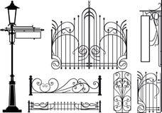Vecchi elementi di disegno delle vie della città Immagini Stock Libere da Diritti