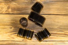 Vecchi film della foto sulla tavola di legno Fotografia Stock Libera da Diritti