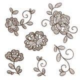 Vecchi fiori dell'ornamentale del pizzo Immagini Stock