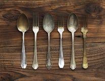 Vecchi forchette e cucchiai Fotografia Stock Libera da Diritti