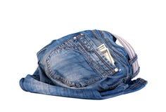 Vecchi jeans con soldi nella casella Fotografie Stock Libere da Diritti