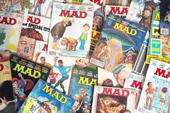 Vecchi libri di fumetti pazzi d'annata del fumetto della rivista Fotografia Stock